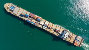 container ship aerial view